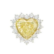 Platinum, Gold, Fancy Light Yellow Diamond and Diamond Ring