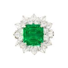 Platinum, Emerald and Diamond Ring, Bulgari
