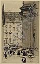 Zeising, Walter. 1876 Leipzig-1933 DresdenBlumenmarkt auf der Kreuzstraße in Dresden. Radierung, in der Platte monogr. und dat. (19)05. Gleichmäßig leicht gebräunt, einzelne Stockfl. im Blattrand. 25,5 x 16 cm (Pl), ca. 32 x 24 cm (Bl). Hinter Glas