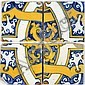 4 Fliesen, Portugal, 17./ 18.  Jh.Fayence, blau-gelb bemalt auf weißer Glasur. ca. 13,5 x 13,5 cm