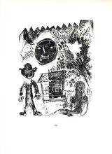 1963 Chagall La Lune Noir Mourlot Poster