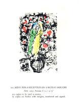1963 Chagall Menu Pour Reception sur le Bateau-Mouche Mourlot Poster