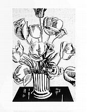 Lichtenstein Black Flowers Poster