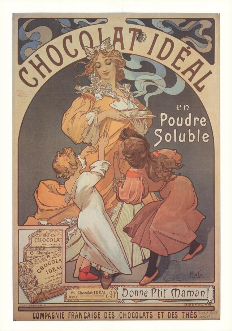 3 Alphonse Mucha Chocolat Ideal Posters