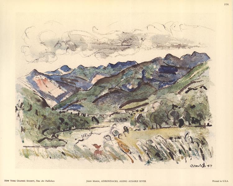 3 John Marin Adirondacks, Along Ausable River Lithographs