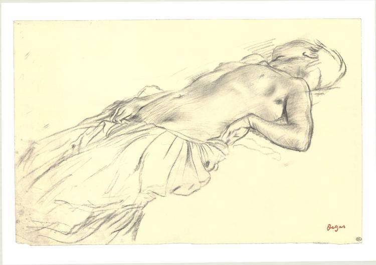 3 Edgar Degas 1992 Lying Nude,Crayon Posters