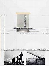 Signed 1986 Christo 5600 Cubic Meter Package, Kassel Mixed Media