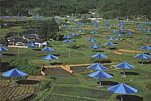 Signed Christo Blue Umbrellas-Ibaraki, Japan Site Offset Lithograph