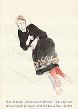 1973 Hockney Celia In A Black Dress With Colored Border Lithograph