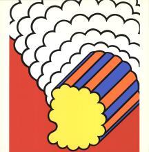1968 Krushenick White Smoke Red Sky Serigraph