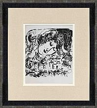 1957 Chagall The Village Framed Mourlot Lithograph