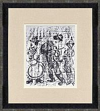 1957 Chagall The Wandering Musicians Framed Mourlot Lithograph