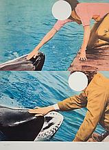 Signed 2010 Baldessari Two Whales (with People) Serigraph
