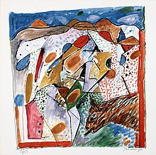 Signed 1986 Scanga From Art Sounds Portfolio Offset Lithograph