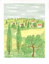 Signed Farm Scene Lithograph