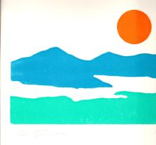 Signed 1980 Stevenson Untitled (Setting sun over mountains and river landscape) Woodblock