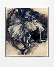 Degas Ballerina Lacing her Slippers Poster