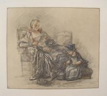 Jean Baptiste Chardin - Lady Reading With a Child - 1930