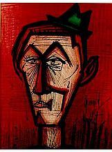 1967 Buffet Le Clown Au Fond Rouge Lithograph