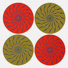 Signed 1972 Trova Four Circles-Red and Green Serigraph