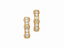 A Pair of Diamond and Gold Earrings, Cartier
