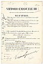BENITO MUSSOLINI + VICTOR EMANUEL III Document Signed