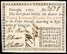 Colonial Currency, Georgia. 1777 Three Dollars. PMG Extremely Fine-40