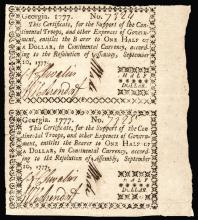 Colonial Currency, Georgia. Sept. 10, 1777 $1/2 Rare UNCUT PAIR, PCGS EF 40