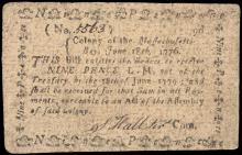 Colonial Currency, Massachusetts. June 18, 1776 Nine Pence. Choice Very Fine