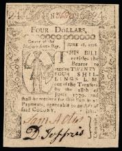 Colonial Currency, MA, June 18, 1776, Four Dollars. Small SWORD IN HAND Issue