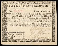 Colonial Currency, NH, Apr 29, 1780, $4 US Guarantee Issue PCGS Very Fine-35