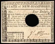 Colonial Currency, New Hampshire, April 29, 1780. $4. PMG Uncirculated-62