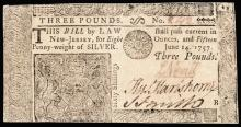 Colonial Currency, NJ, June 14, 1757. Three Pounds. Plate B. About New-50 PPQ