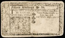 Colonial Currency, NJ, June 14, 1757 15 Shillings, Fine to Very Fine