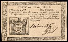 Colonial Currency, NJ, Jan. 9, 1781. One Shilling. Choice Crisp Uncirculated