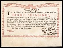 Colonial Currency, New-York Water Works, August 2, 1775. Eight Shillings Ch. AU