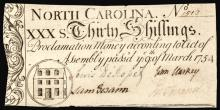 Colonial Currency, NC. Mar. 9, 1754 30s House vignette PCGS Extremely Fine 40