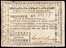 Colonial Currency, Lot of TWO - May 10, 1780 Pleasing North Carolina Notes