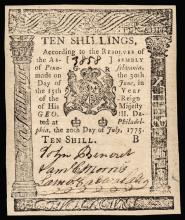 Colonial Currency, PA. July 20, 1775. Ten Shillings. PMG Choice Uncirculated-64