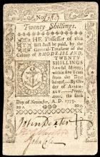 Colonial Currency, RI, November 6, 1775. 20 Shillings. PASS-CO Extremely Fine-40