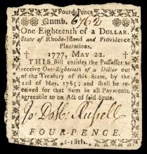 Colonial Currency, Rhode Island May 22, 1777, $1/18 Very Fine to Extremely Fine