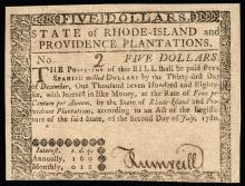 Colonial Currency RI, July 2, 1780, SERIAL NUMBER 2. $5 Guaranteed Issue
