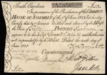 Colonial Currency, SC, June 10, 1775 Fifty Pounds. PMG Very Fine-30 Rarity!