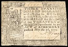 Colonial Currency. Virginia. May 3, 1779. Three Dollars. Thin Laid Paper. Rarity
