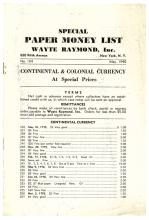 1940 Wayte Raymond Price List Continental + Colonial Currency at Special Prices