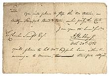 Commander ADAM HUBLEY, JR. 1783 Autographed Document