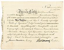 Signer ROBERT MORRIS, 1795 Signed North American Land Company Stock Certificate