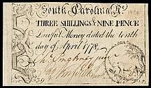 Colonial Currency, CHARLES PINCKNEY, JR. Signed. South Carolina. April 10, 1778