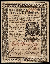 Colonial Currency, Pennsylvania. July 20, 1775. 30 Shillings Signed ADAM HUBLEY