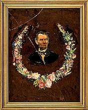 c. 1865 Reverse Painting on Glass of ABRAHAM LINCOLN Folk Art Style Design